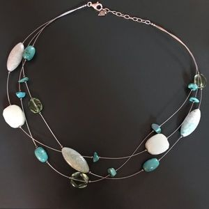 Silpada SS Turquoise Howlite Serpentine Necklace